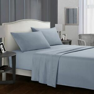 4 Piece 1800 Count Bed Sheet Set Blue purple - send Fitted sheet retaining clip