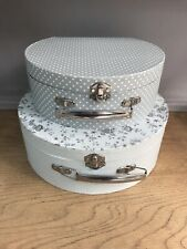 Vintage Style Storage Display Small Cases Grey Polka Dot Flowered Country Rustic