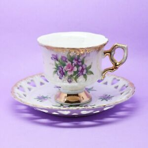 Lustreware Cup & Saucer, Japan, Vintage, Fine China, Pink and Purple Flowers