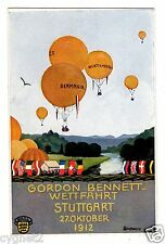 POSTCARD GERMAN 1912 STUTTGART GORDON BENNETT AIR BALLOON RACE ARTIST-SIGNED