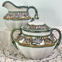 Antique Nippon Hand Painted Moriage Creamer and Covered Sugar Bowl Set