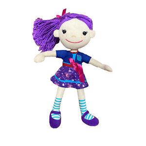 Rag Doll Purple Hair Shoes Floral Dress Striped Socks Sewn Eyes Plush Toy
