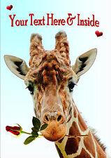 PERSONALISED GIRAFFE & ROSE VALENTINE BIRTHDAY ANNIVERSARY etc CARD Illus Insert