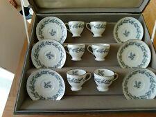 "MINTON - ""GREY ELIZABETHAN OAK"" - set of 6 footed tea cups"