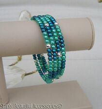 Memory Wire Bracelet Deep Teal & Turquoise Glass Pearl Beads Cuff Handcrafted