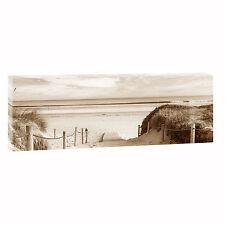 Weg zum Strand -Bild auf  Leinwand Poster Strand Meer 120 cm* 40 cm 624 sepia