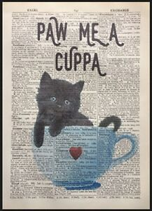 Black Kitten Cat Vintage Dictionary Page Wall Art Picture Cup Print Tea Coffee
