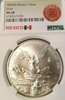 2005 MEXICO SILVER LIBERTAD ONZA NGC MS 68 VERY SCARCE LOW MINTAGE HIGH GRADE