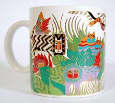 Laurel Burch 1989 The Secret Jungle Cat Lion Parrot Gold Accent Mug Japan