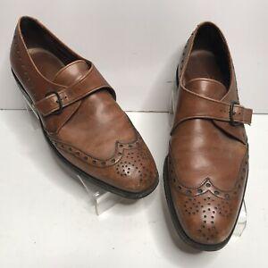 Allen Edmonds Belfast Nailless Monk Strap Brown Leather Wingtip Shoes Mens 9