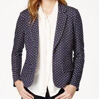 Maison Jules Womens Blazer Jacket Size L Navy Blue Polka Dot Soft Knit Stretch
