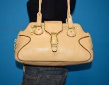 COLE HAAN 'Alexa' Beige Brown Leather Shoulder Tote Hobo Buckle Small Bag Purse