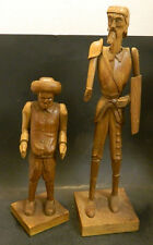 Vintage Hand Carved Wooden Don Quixote & Sancho Figures Very Good Condition