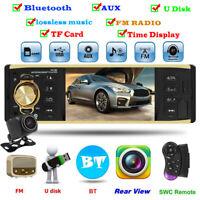 4.1 in Single 1 DIN Car Stereo Radio MP5 Player BT AUX USB Head Unit W/ Camera