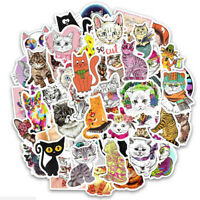 50Pcs/bag Cute cat stickers DIY scrapbooking suitcase laptop car stickEF I2