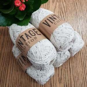 COTTON DOUBLE KNITTING WOOL / YARN 5 x 100g VINTAGE COTTON natural with  flecks