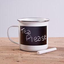 Chalk Board Message Mug White Metal Enamel Tea Coffee Blackboard Drinking Cup