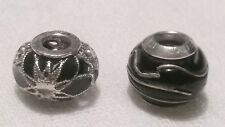 Set of 2 Sterling Silver Bead Charms 'MA MURANO ITALY 925' w Black Enamel