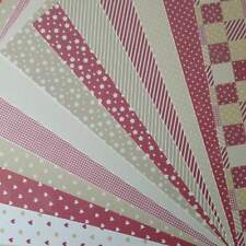12 A4 Sheets of Mixed Card - Patchwork, Gingham, Stripes Vintage Red & Biscuit