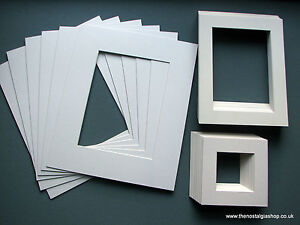 Pack of 10 Photo / Picture Mounts - Ivory. Various Sizes. Free UK Post.
