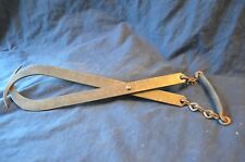 Vtg Primitive Ice Block Tongs w/Chain to Metal Handle-Forged Rustic Metal Handle
