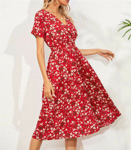 Womens Short Sleeve V Neck Midi Dress Ladies Holiday Beach Party Floral Dresses