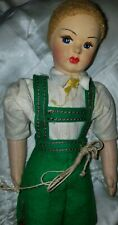 """vintage felt & cloth Lenci type doll jointed legs w/ cotter pins 10"""" doll"""
