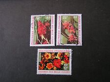 FRENCH POLYNESIA, SCOTT # 264-266(3), COMPLETE SET 1971 FLOWERS ISSUE USED