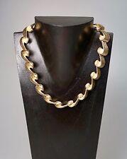 "Vintage Art Deco Gold Tone Textured Bronze Scroll Choker Necklace 16"" W C Edge?"