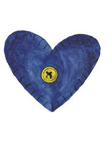 Folk Art Blue Hearts 25 Wallies Yellow Button Heart Stickers Decals Wall Border
