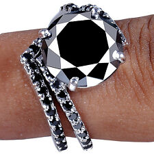 6.21 ct AAA BLACK MOISSANITE ROUND CUT .925 STERLING BRIDAL RING