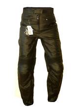 PANTALONI da moto in pelle nera custom o turing uomo nuovi XL