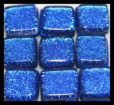 Lot of 6 SAPPHIRE BLUE Sq SPARKLE Fused Glass DICHROIC Cabochons NO HOLE Beads