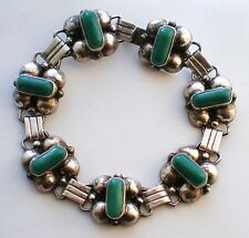 Mexico Mexican Sterling Silver 925 Green Chrysoprase Bracelet 24.6 grams