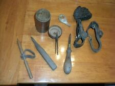 Vintage Leather Working Tools - 10 pcs including 2 corn huskers, needles, and mo