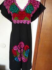 Ethnic Embroidery Mexican Boho Maxi Tunic Retro Dress Loose Casual