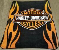 "Harley Davidson Throw Blanket 60"" x 80"" Flames Northwest Royal Raschel Plush"