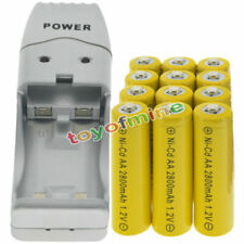 12 AA Yellow Rechargeable Batteries NiCd 2800mAh 1.2v Solar Light + Charger