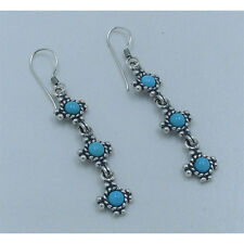 PETITE .925 Sterling Silver Natural Sky Blue Turquoise Dangle Earrings
