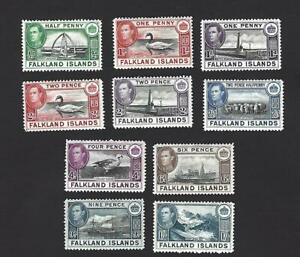FALKLAND ISLANDS 1938 GEORGE VI, 10 DIFFERENT PICTORIAL STAMPS TO 1/-. £90+, MH