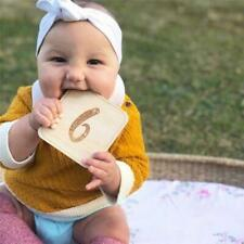 Wooden Infant Birthday Memorial Milestone Card Photography Props Photo Gifts JH