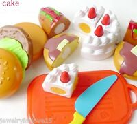 Kids Children Cooking Pretend Role Play Kitchen Fruit Cake Food Cutting Set Toy