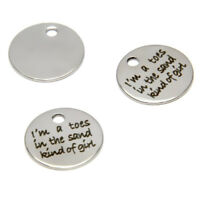 10pcs/lot I'm a toes in the sand kind of girl charm silver tone pendant 20mm