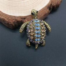 Rhinestone Fill Small Turtle Suit Shirt Collar Brooch Pin Wedding Party Gift HT
