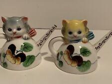 Vintage Py Japan Anthropomorphic Cats In Teapots Salt Pepper Shaker B308