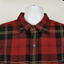 Polo Sport Ralph Lauren Mens Red Black Flannel Wool Plaid Dress Button Shirt XL