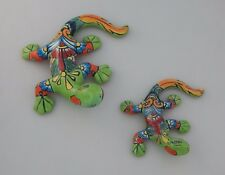 Set Of 2 Pcs Lizard-Gecko-Iguana-Mexic an-Talavera Hand Made Folk Art # 01