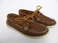 ROOTS CANADA TRIBE BROWN LEATHER SHOES SLIP ON LACED MOCCASIN BOAT LOAFER~6.5