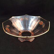 VINTAGE ROSY CLEAR PINK GLASS DECORATIVE PEDESTAL BOWL-GOLD TRIM-FLOWER DESIGN