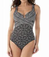 Miraclesuit Womens Swimwear Black Size 10 Sweetheart Twist One Piece $190 911